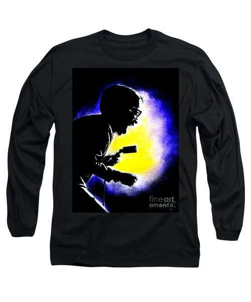 Long Sleeve T-Shirt featuring the drawing Sammy David Jr Singing His Heart Out by Jim Fitzpatrick