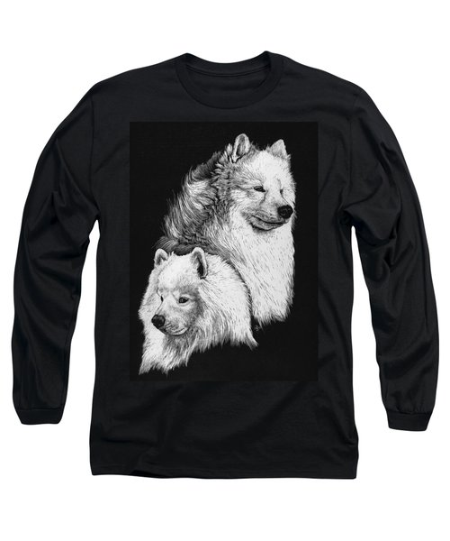 Long Sleeve T-Shirt featuring the drawing Samoyed by Rachel Hames