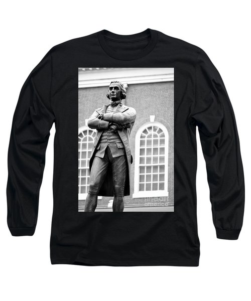Samuel Adams Statue State House Boston Ma Black And White Long Sleeve T-Shirt