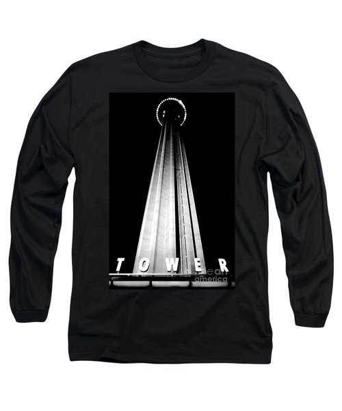 San Antonio Tower Of The Americas Hemisfair Park Space Needle Tower Restaurant Black And White Long Sleeve T-Shirt