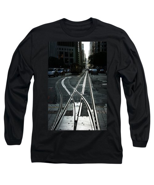 Long Sleeve T-Shirt featuring the photograph San Francisco Silver Cable Car Tracks by Georgia Mizuleva