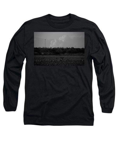 Sand Hill Cranes With Nebraska Thunderstorm Long Sleeve T-Shirt
