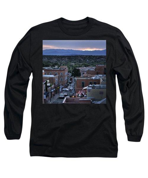 Long Sleeve T-Shirt featuring the photograph Santa Fe Evening Rooftops by John Hansen