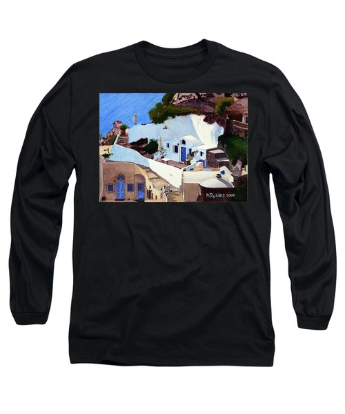 Santorini Cave Homes Long Sleeve T-Shirt by Mike Robles