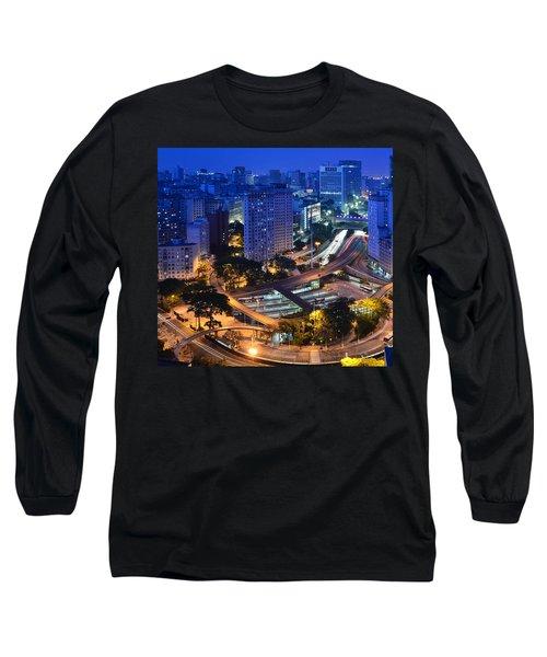 Sao Paulo Skyline - Downtown Long Sleeve T-Shirt