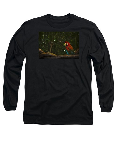 Scarlet Macaw Profile Long Sleeve T-Shirt by Bradley R Youngberg