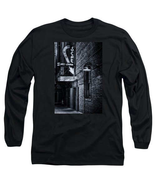 Scat Lounge In Cool Black And White Long Sleeve T-Shirt by Joan Carroll