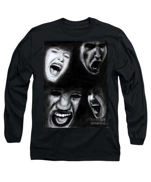 Long Sleeve T-Shirt featuring the drawing Scream by Michael Cross