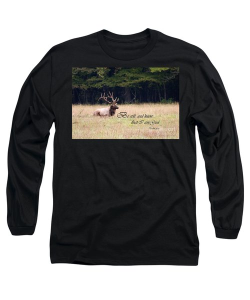 Scripture Photo With Elk Sitting Long Sleeve T-Shirt