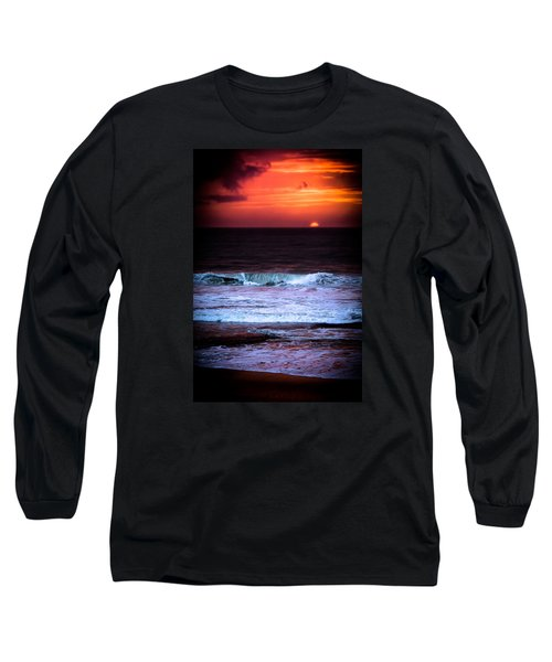 Sea Foam Under Fire Sky Long Sleeve T-Shirt