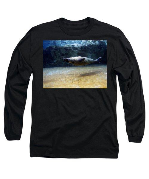 Long Sleeve T-Shirt featuring the photograph Sea Lion Swimming Upsidedown by Verana Stark