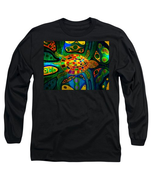 Sea Turtle - Abstract Ocean - Native Art Long Sleeve T-Shirt