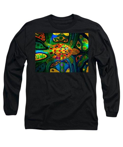 Sea Turtle - Abstract Ocean - Native Art Long Sleeve T-Shirt