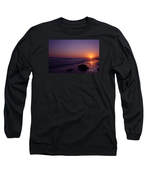 Long Sleeve T-Shirt featuring the photograph Seagull Watching The Sunset Carpinteria State Beach by Ian Donley