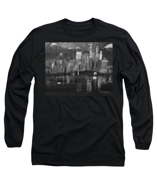 Seattle Black And White Long Sleeve T-Shirt by Dick Bourgault