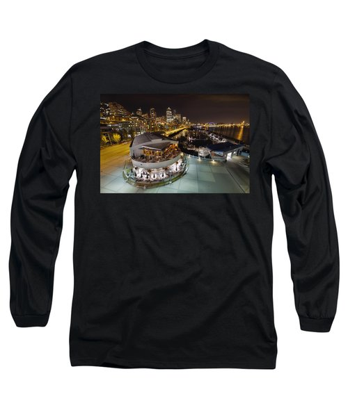 Long Sleeve T-Shirt featuring the photograph Seattle City Skyline And Marina At Night by JPLDesigns