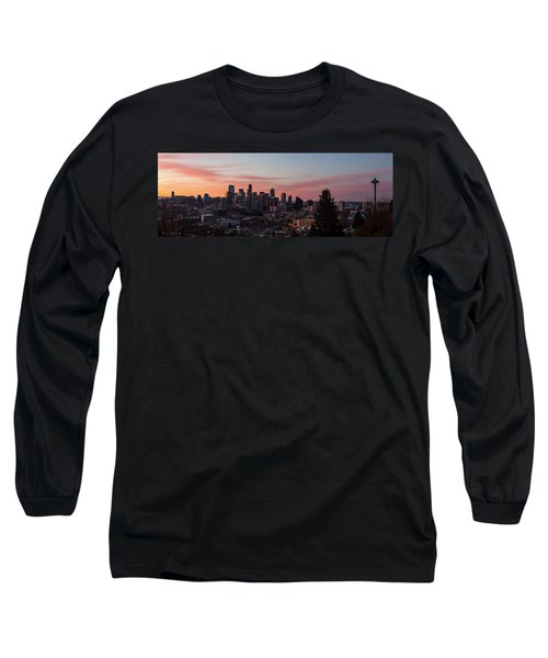 Seattle Cityscape Sunrise Long Sleeve T-Shirt