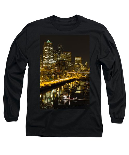 Long Sleeve T-Shirt featuring the photograph Seattle Downtown Waterfront Skyline At Night by JPLDesigns