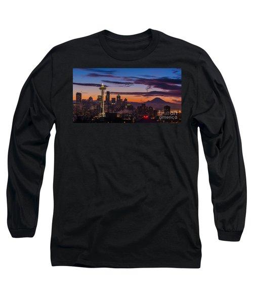 Seattle Fog Sunrise Purples Long Sleeve T-Shirt