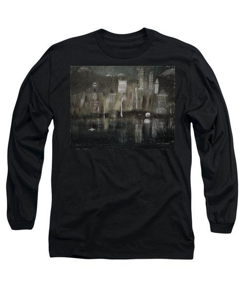 Seattle In The Rain Cityscape Long Sleeve T-Shirt by Dick Bourgault