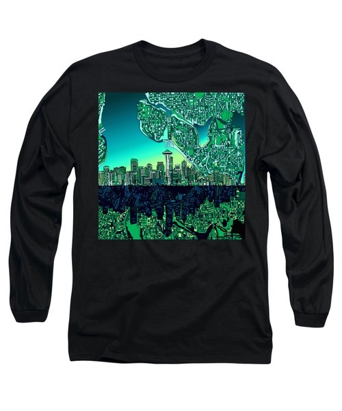 Seattle Skyline Abstract Long Sleeve T-Shirt