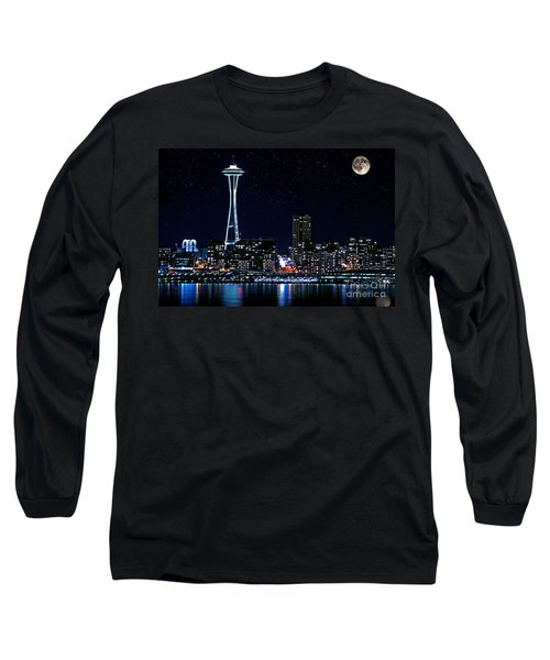 Seattle Skyline At Night With Full Moon Long Sleeve T-Shirt by Valerie Garner