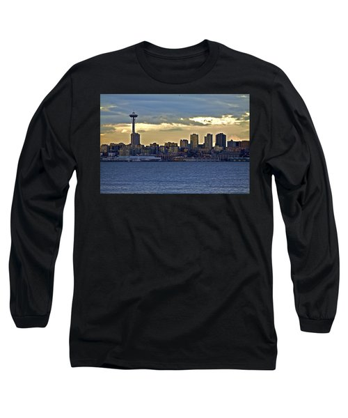 Seattle Skyline In Twilight Long Sleeve T-Shirt