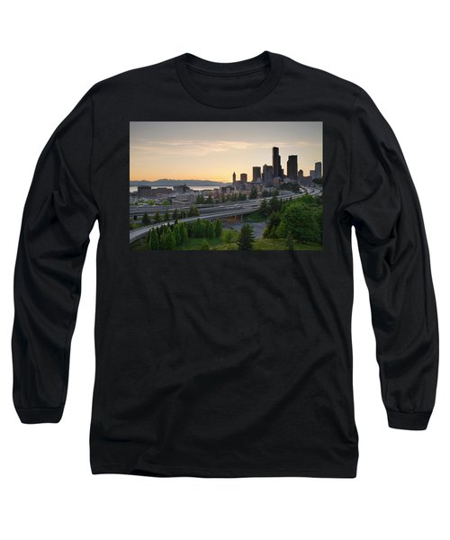Long Sleeve T-Shirt featuring the photograph Seattle Washington Downtown City Sunset by JPLDesigns