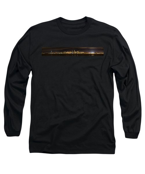 Long Sleeve T-Shirt featuring the photograph Seattle Waterfront At Night Panoramic by Chris McKenna
