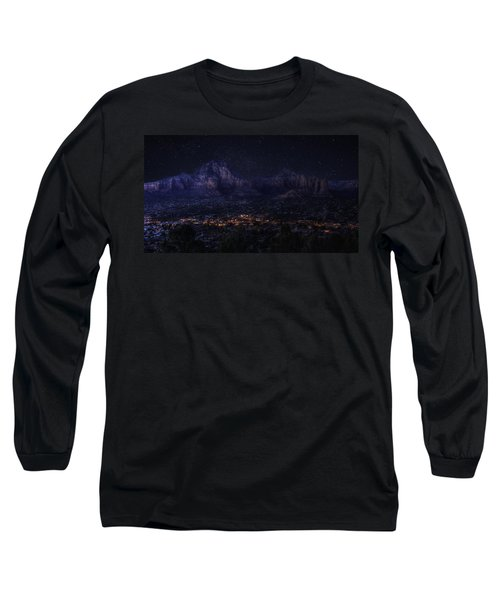 Long Sleeve T-Shirt featuring the photograph Sedona By Night by Lynn Geoffroy
