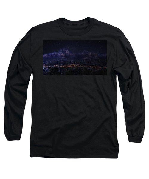 Sedona By Night Long Sleeve T-Shirt by Lynn Geoffroy