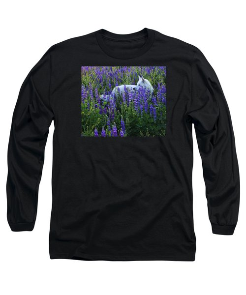 Sekani In Lupine Long Sleeve T-Shirt by Sean Sarsfield