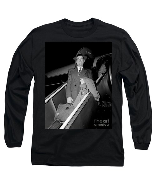 Long Sleeve T-Shirt featuring the photograph Senator Nixon 1952 by Martin Konopacki Restoration
