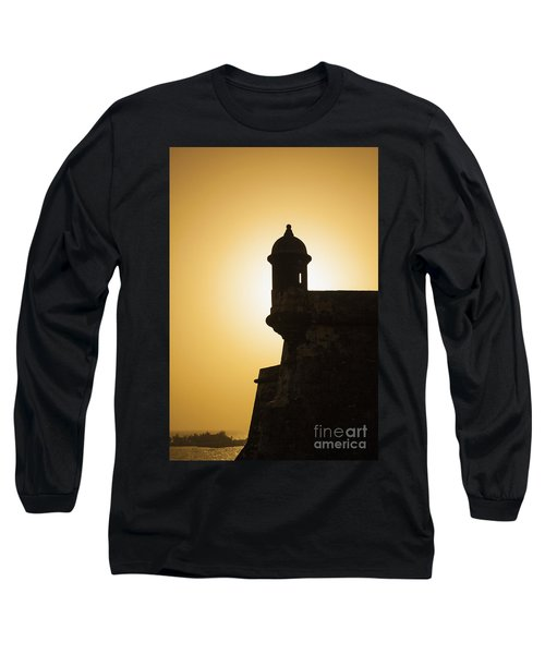 Sentry Box At Sunset At El Morro Fortress In Old San Juan Long Sleeve T-Shirt