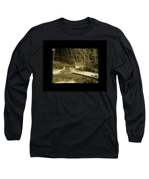 Long Sleeve T-Shirt featuring the photograph Sepia - Country Road First Snow by Absinthe Art By Michelle LeAnn Scott