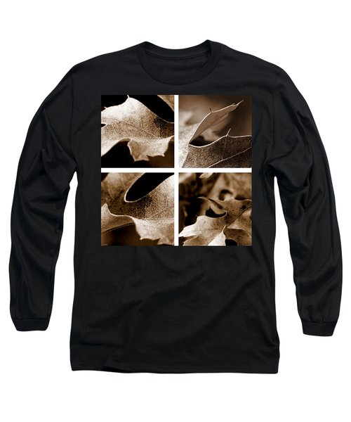 Long Sleeve T-Shirt featuring the photograph Sepia Leaf Collage by Lauren Radke