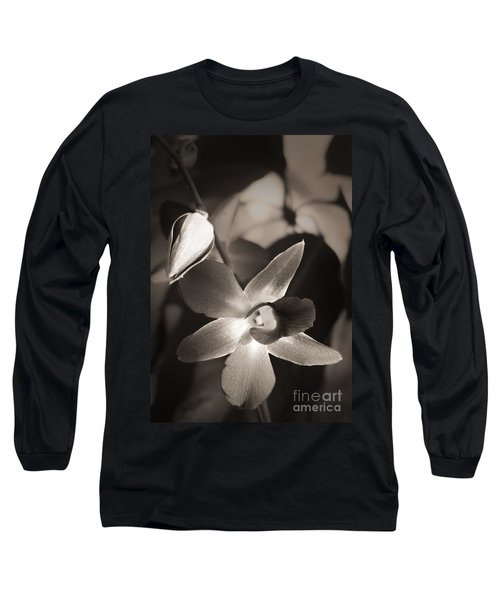 Long Sleeve T-Shirt featuring the photograph Sepia Orchid by Ellen Cotton