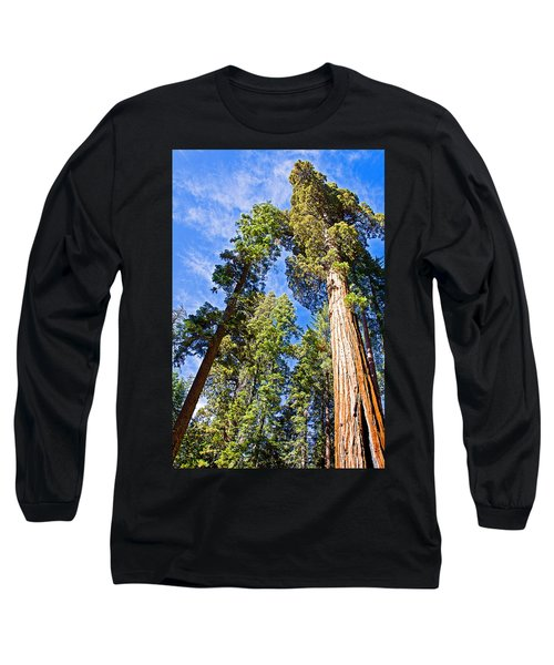 Sequoias Reaching To The Clouds In Mariposa Grove In Yosemite National Park-california Long Sleeve T-Shirt