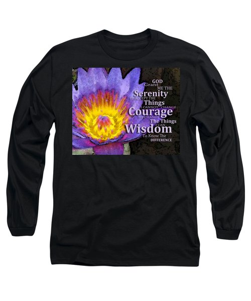 Serenity Prayer With Lotus Flower By Sharon Cummings Long Sleeve T-Shirt