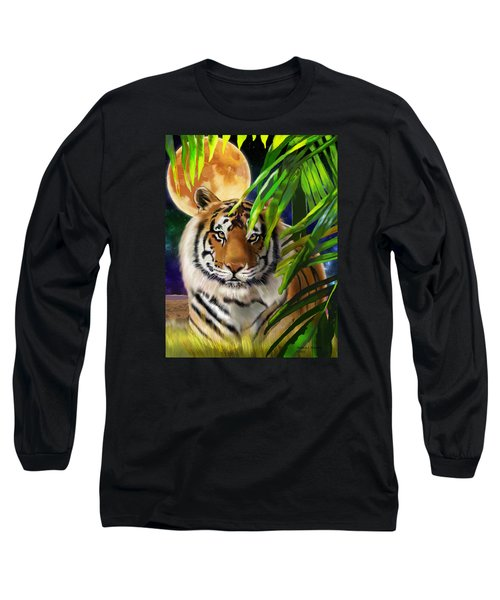 Second In The Big Cat Series - Tiger Long Sleeve T-Shirt by Thomas J Herring