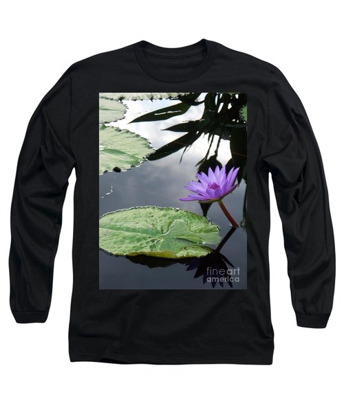 Shadows On A Lily Pond Long Sleeve T-Shirt by Eric  Schiabor