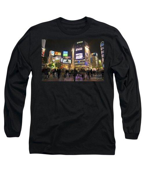 Shibuya Crossing At Night Tokyo Japan  Long Sleeve T-Shirt