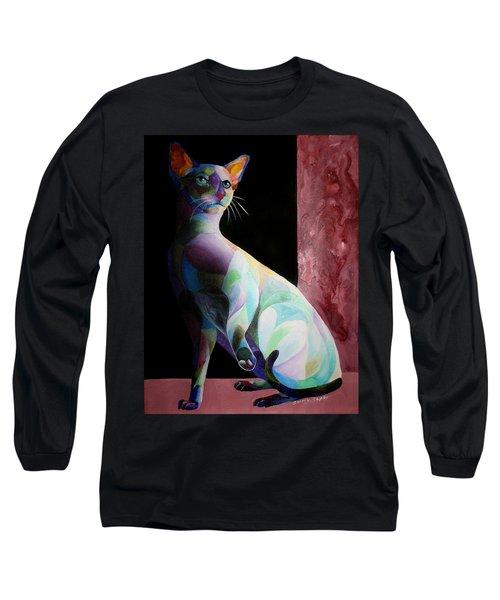Siamese Shadow Cat 1 Long Sleeve T-Shirt by Sherry Shipley