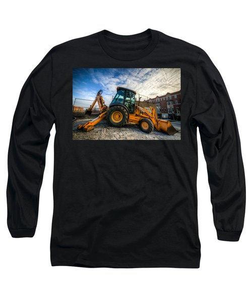 Side View Of A Backhoe At Sunset Long Sleeve T-Shirt