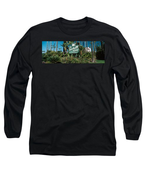 Signboard Of A Hotel, Beverly Hills Long Sleeve T-Shirt by Panoramic Images