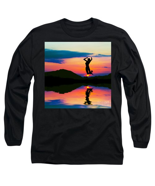 Silhouette Of Happy Woman Jumping At Sunset Long Sleeve T-Shirt