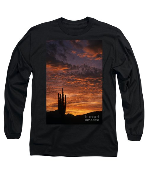 Silhouetted Saguaro Cactus Sunset At Dusk With Dramatic Clouds Long Sleeve T-Shirt
