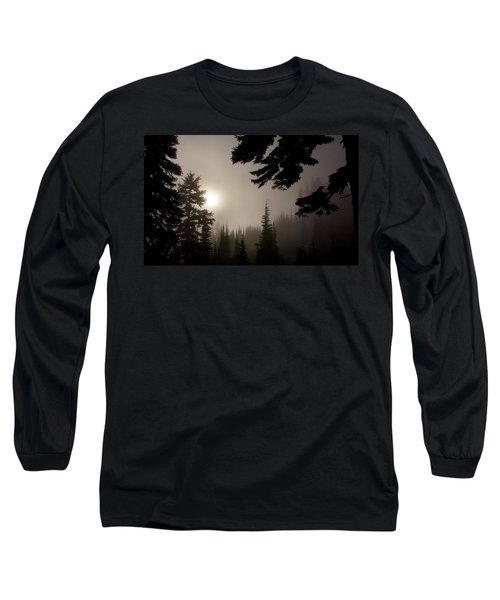 Long Sleeve T-Shirt featuring the photograph Silhouettes Of Trees On Mt Rainier by Greg Reed