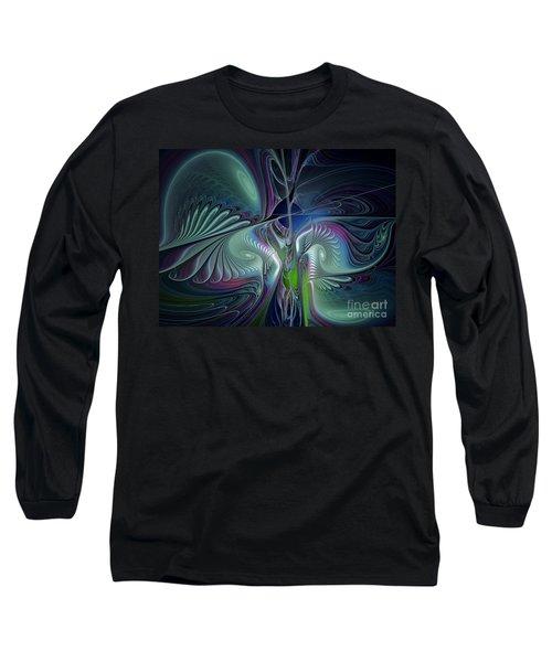 Silky Nights-fractal Design Long Sleeve T-Shirt