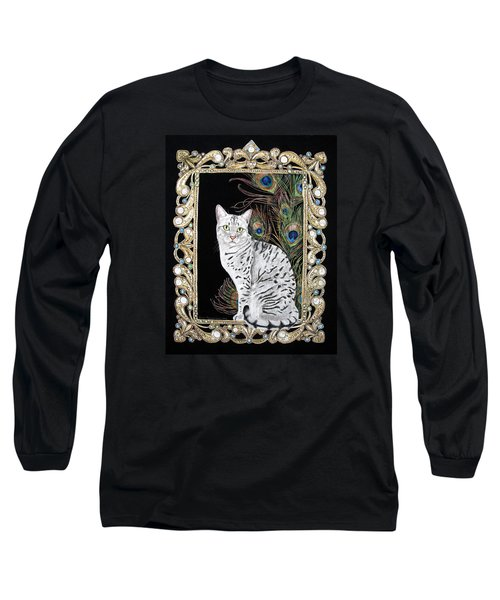 Long Sleeve T-Shirt featuring the painting Silver Egyptian Mau by Leena Pekkalainen